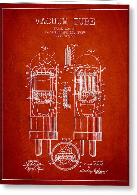 Thermionic Valve Greeting Cards - Vacuum Tube Patent From 1929 - Red Greeting Card by Aged Pixel