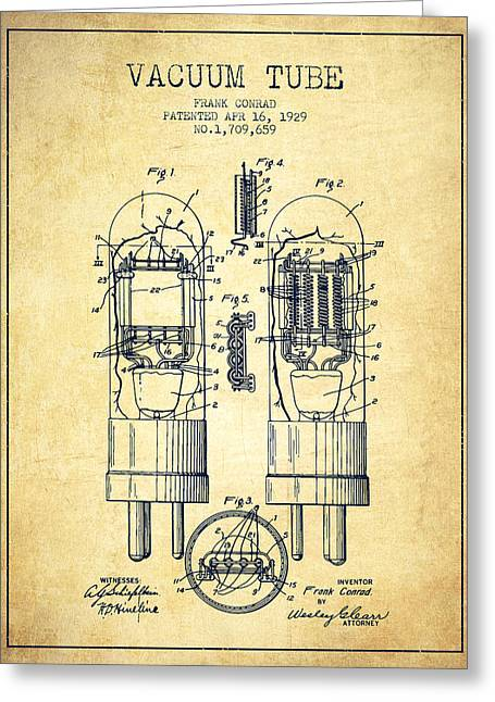 Thermionic Valve Greeting Cards - Vacuum Tube Patent From 1929 - Vintage Greeting Card by Aged Pixel