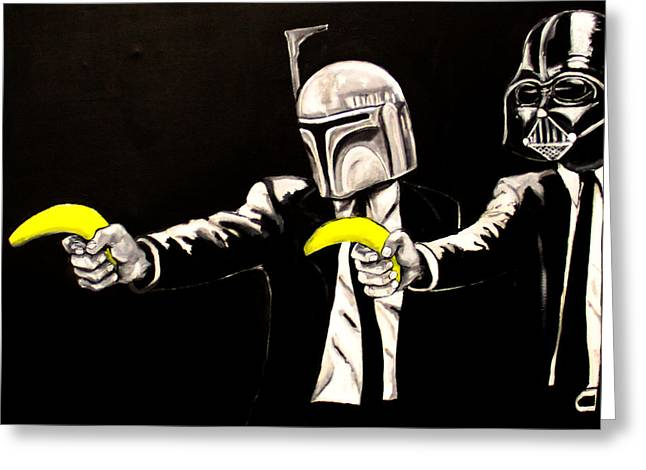 Banksy Paintings Greeting Cards - Vader Fett Pulp fiction Banksy Greeting Card by Austin Angelozzi