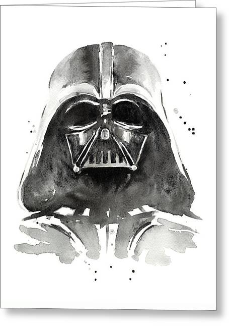 Darth Vader Watercolor Greeting Card by Olga Shvartsur