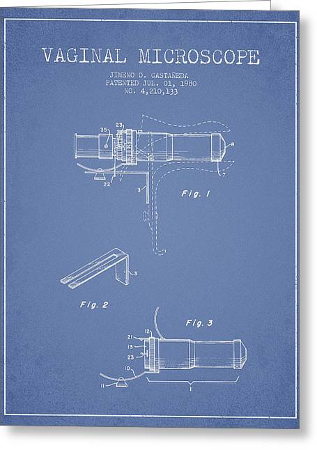 Microscope Greeting Cards - Vaginal Microscope patent from 1980 - Light Blue Greeting Card by Aged Pixel