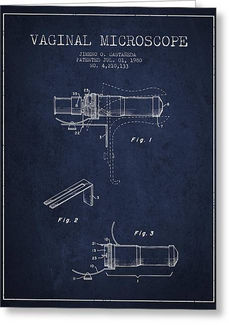 Biology Greeting Cards - Vaginal Microscope patent from 1980 - Navy Blue Greeting Card by Aged Pixel