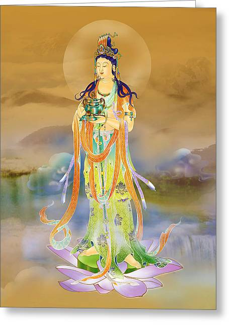Kuan Greeting Cards - Vaidurya  Kuan Yin Greeting Card by Lanjee Chee