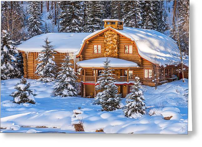 Snow Scenes Greeting Cards - Vail Chalet Greeting Card by Darren  White