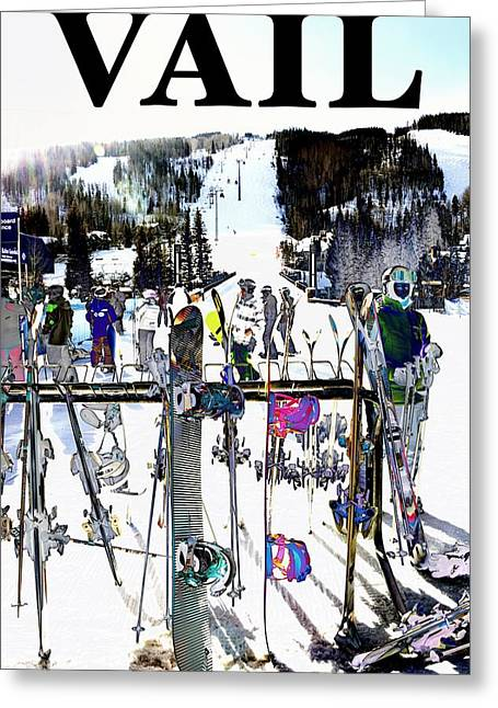Skiing Posters Digital Art Greeting Cards - Vail Fun Greeting Card by Roberta Peake