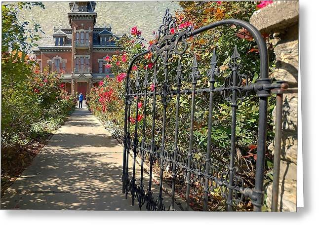 Liane Wright Greeting Cards - Vaile Landscape and Gate Greeting Card by Liane Wright