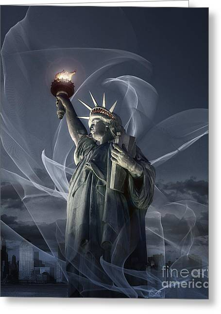 Title : Liberty Greeting Cards - Light of Liberty Greeting Card by Edmund Nagele