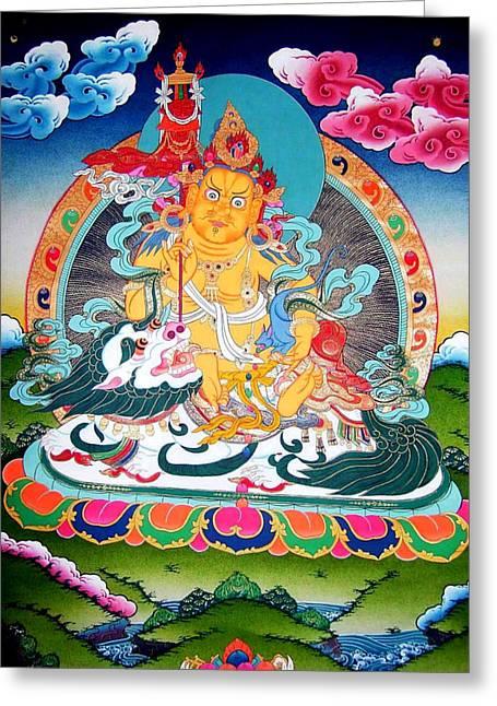 Tibetan Buddhism Greeting Cards - Vaishravnna 14 Greeting Card by Lanjee Chee