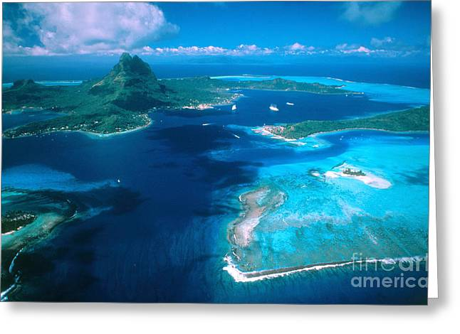 Tropical Island Greeting Cards - Vaitape Bay, French Polynesia, Bora-bora Greeting Card by Adam G. Sylvester