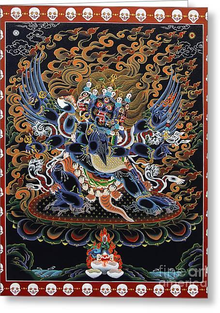 Thangka Greeting Cards - Vajrakilaya Dorje Phurba Greeting Card by Sergey Noskov