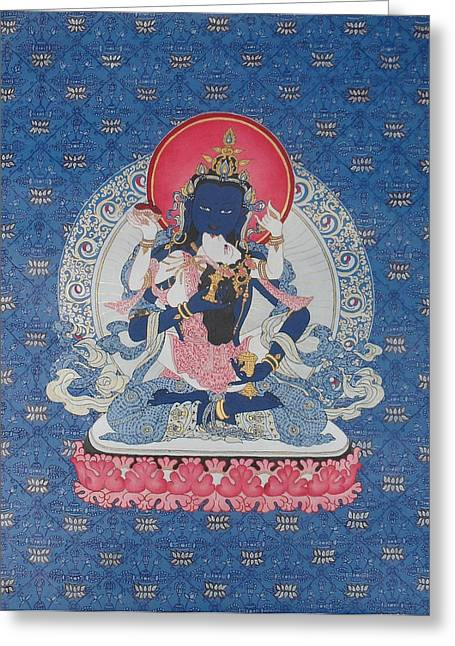 Recently Sold -  - Liberation Greeting Cards - Vajrasattva and Consort Greeting Card by Ariyas Thangkas