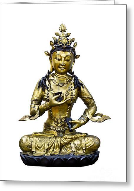 Tibetan Buddhism Greeting Cards - Vajrasattva Greeting Card by Tosporn Preede
