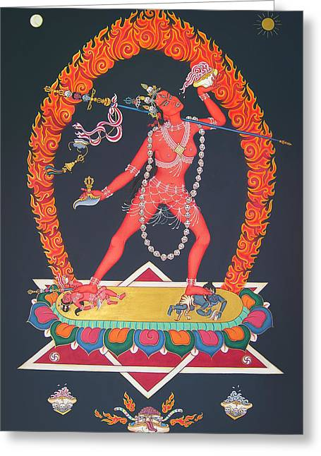 Recently Sold -  - Tibetan Buddhism Greeting Cards - Vajrayogini Greeting Card by Carmen Mensink