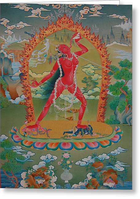 Thangka Greeting Cards - Vajrayogini of the Sakya tradition Greeting Card by Binod Art School