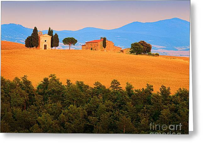 Tuscan Hills Photographs Greeting Cards - Val dOrcia Serenity Greeting Card by Inge Johnsson