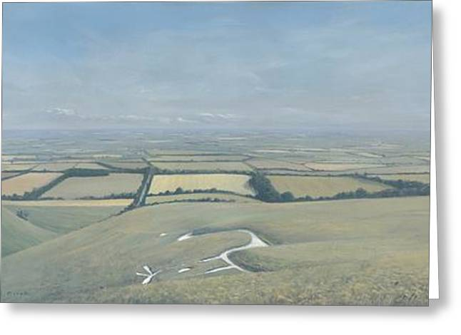 Vale Greeting Cards - Vale of White Horse    Triptych Greeting Card by Richard Picton