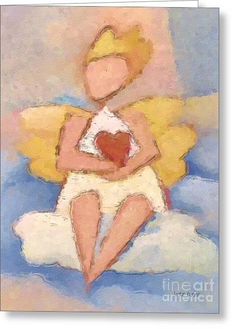 Angel work Paintings Greeting Cards - Valentine Angel Greeting Card by Lutz Baar