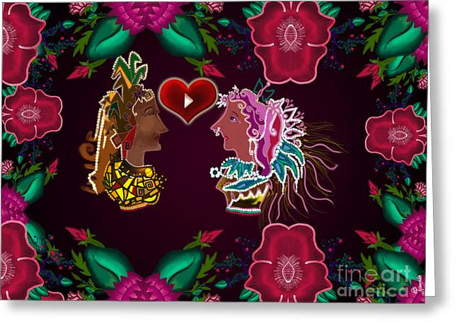 Women Only Greeting Cards - Valentine Greeting Card by Artist Nandika  Dutt