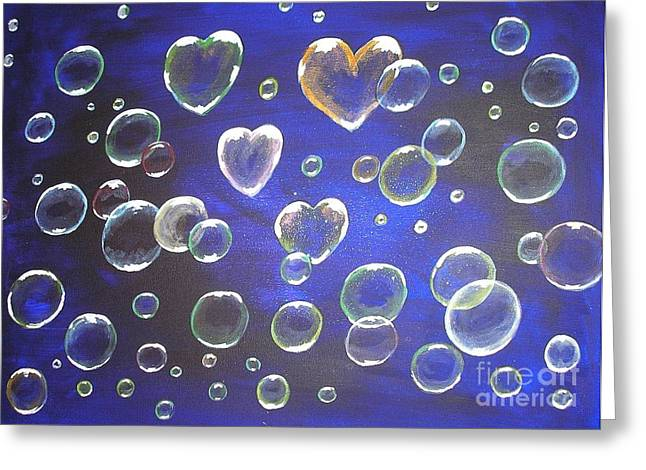 Boyfriend And Girlfriend Greeting Cards - Valentine bubbles Greeting Card by Karen J Jones
