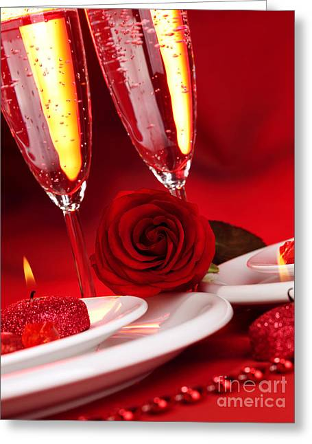 Sparkling Wine Greeting Cards - Valentine day dinner Greeting Card by Anna Omelchenko