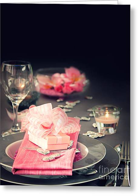 Banquet Greeting Cards - Valentine day romantic table setting Greeting Card by Mythja  Photography