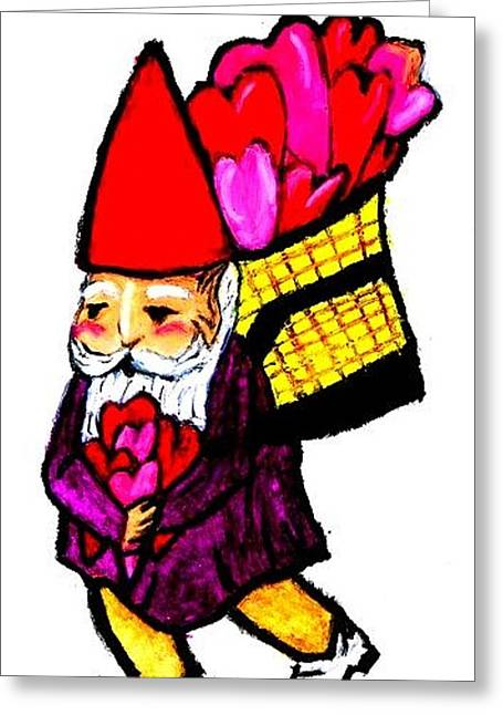 Valentine Pastels Greeting Cards - Valentine Gnome  Greeting Card by Jo-Ann Hayden
