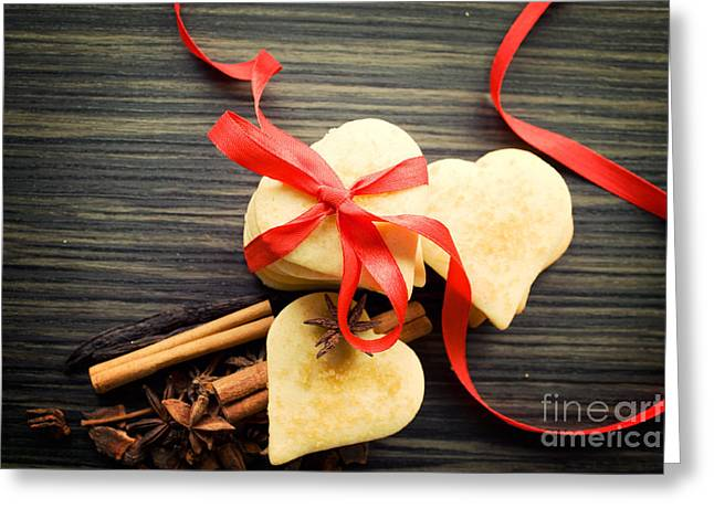 Valentine Heart Cookies Greeting Card by Mythja  Photography