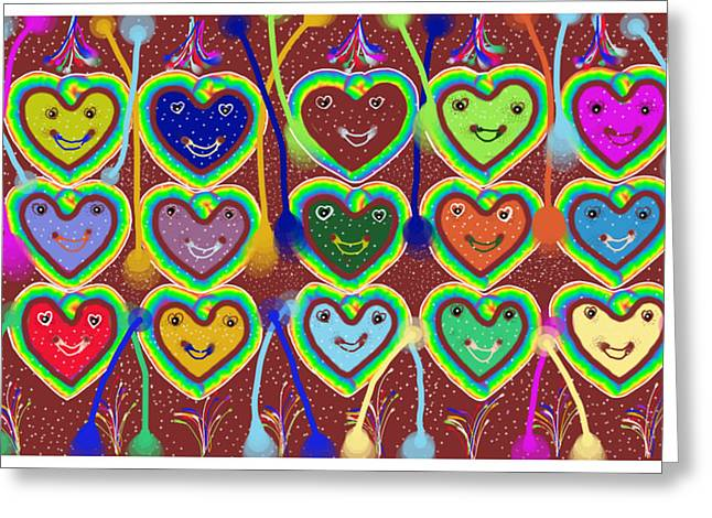 Shades Of Red Greeting Cards - Valentine Hearts Greeting Card by Karunita Kapoor