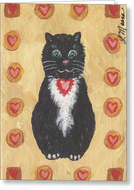 Kittens Greeting Cards - Valentine Kitty Two Greeting Card by Linda Mears