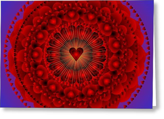 Metaphysics Greeting Cards - Valentine Mandala ....Just for the Love of it Greeting Card by Sarah  Niebank