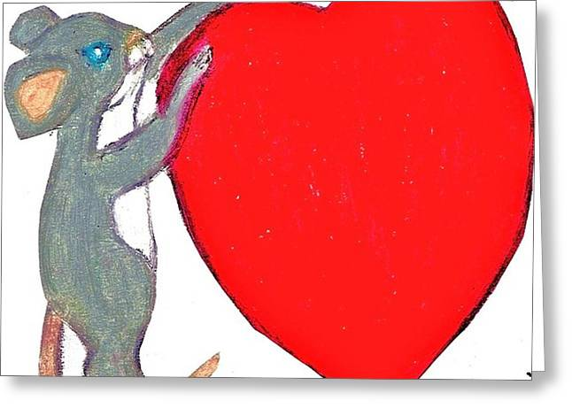 Mouse Pastels Greeting Cards - Valentine Mouse With Big Heart Greeting Card by Jo-Ann Hayden