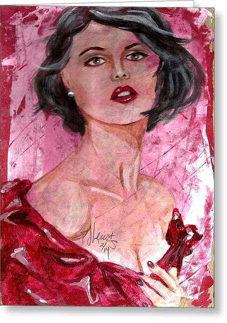 Red Dress Greeting Cards - Valentine Greeting Card by P J Lewis
