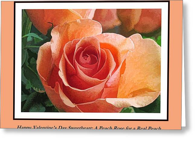 Substantial Greeting Cards - Valentine Peach Rose for a Peach Greeting Card by Doug Morgan