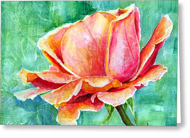 Close Up Paintings Greeting Cards - Valentine Rose Greeting Card by Hailey E Herrera