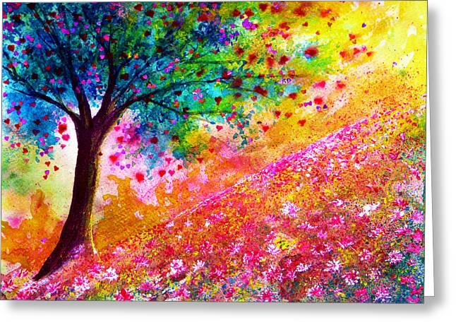Kinkade Greeting Cards - Valentine Tree Greeting Card by Ann Marie Bone