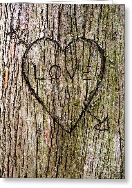 Wood Carving Greeting Cards - Valentine Tree Greeting Card by Diane Diederich