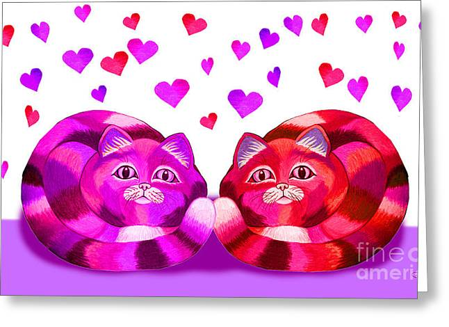 Valentines Day Drawings Greeting Cards - Valentines Cats Greeting Card by Nick Gustafson