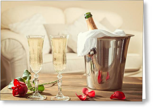 Champagne Glasses Greeting Cards - Valentines Day Champagne Greeting Card by Amanda And Christopher Elwell