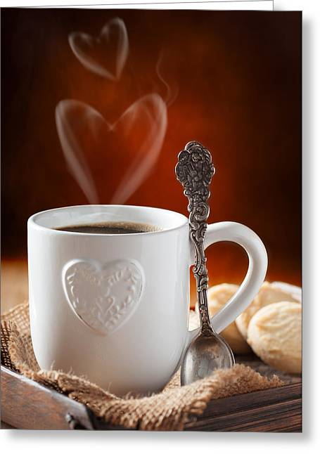 Wooden Table Greeting Cards - Valentines Day Coffee Greeting Card by Amanda And Christopher Elwell
