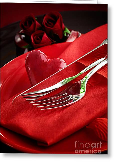 Banquet Greeting Cards - Valentines day dinner Greeting Card by Mythja  Photography