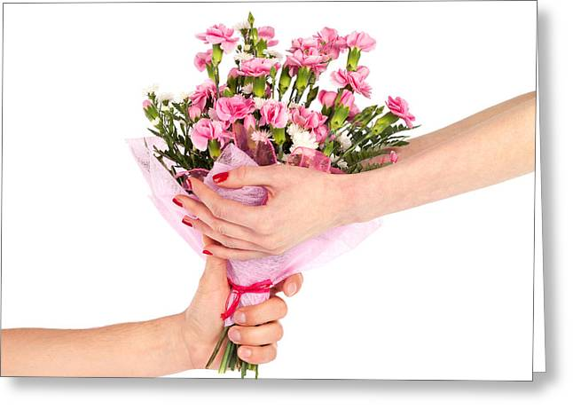 Holding Flower Greeting Cards - Valentines Day Gift Greeting Card by Artur Bogacki