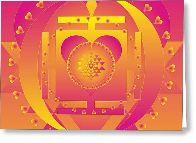 Metaphysics Mixed Media Greeting Cards - Valentines Day Healing Mandala Greeting Card by Sarah  Niebank