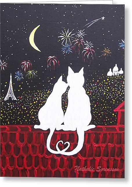 Love In Paris Greeting Card by Nathalie Sorensson