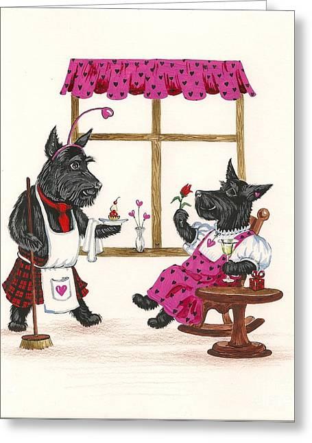 Scotty Art Greeting Cards - Valentines Day MacDuf Greeting Card by Margaryta Yermolayeva