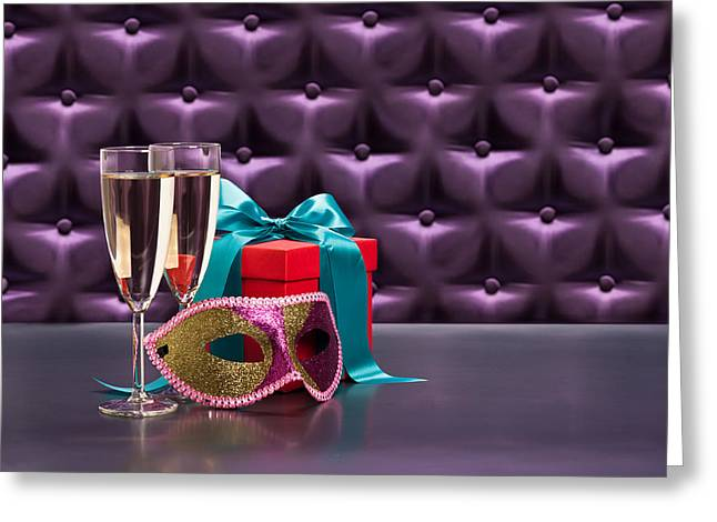 Champagne Glasses Greeting Cards - Valentines Day Mardi Gras Greeting Card by Ulrich Schade