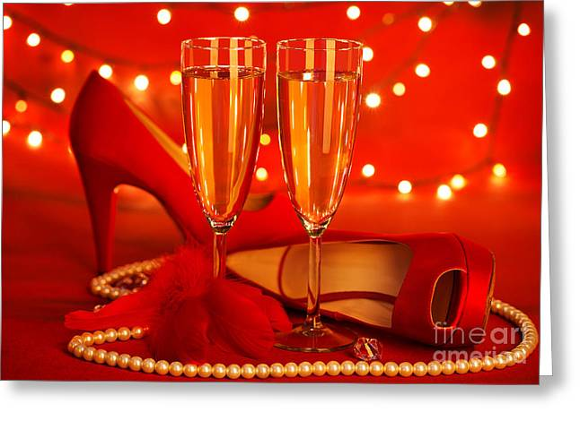 Sparkling Wine Greeting Cards - Valentines day party Greeting Card by Anna Omelchenko