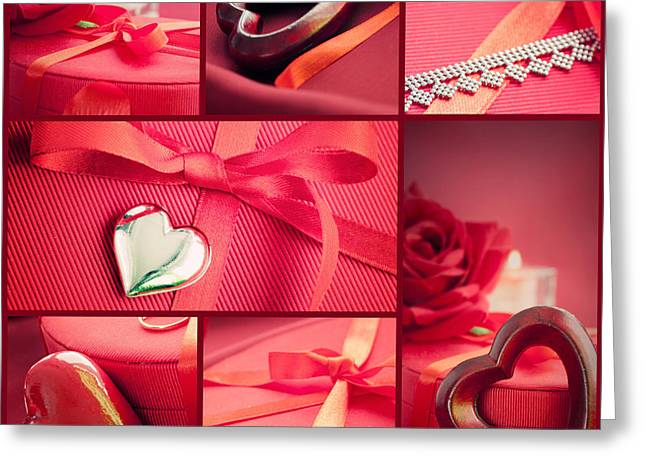 Flower Jewelry Greeting Cards - Valentines day  red collage Greeting Card by Mythja  Photography