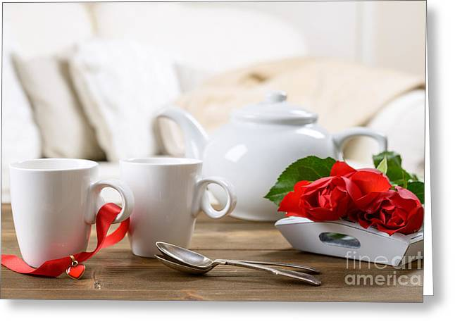 Table Setting Greeting Cards - Valentines Day Tea Greeting Card by Amanda And Christopher Elwell
