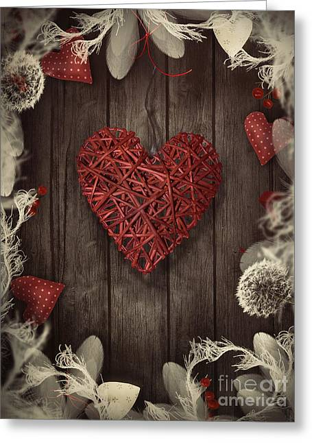 Valentines Design - Love Wreath Greeting Card by Mythja  Photography