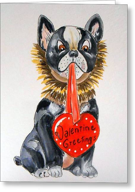 Boston Terrier Watercolor Greeting Cards - Valentines Heart for Boston Terrier Greeting Card by Rita Drolet